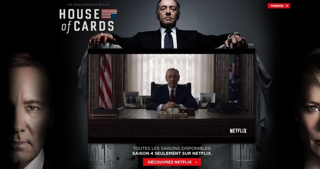 "Rys. Przykład Reklamy Lightbox – Netflix promuje serial ""House of Cards"""