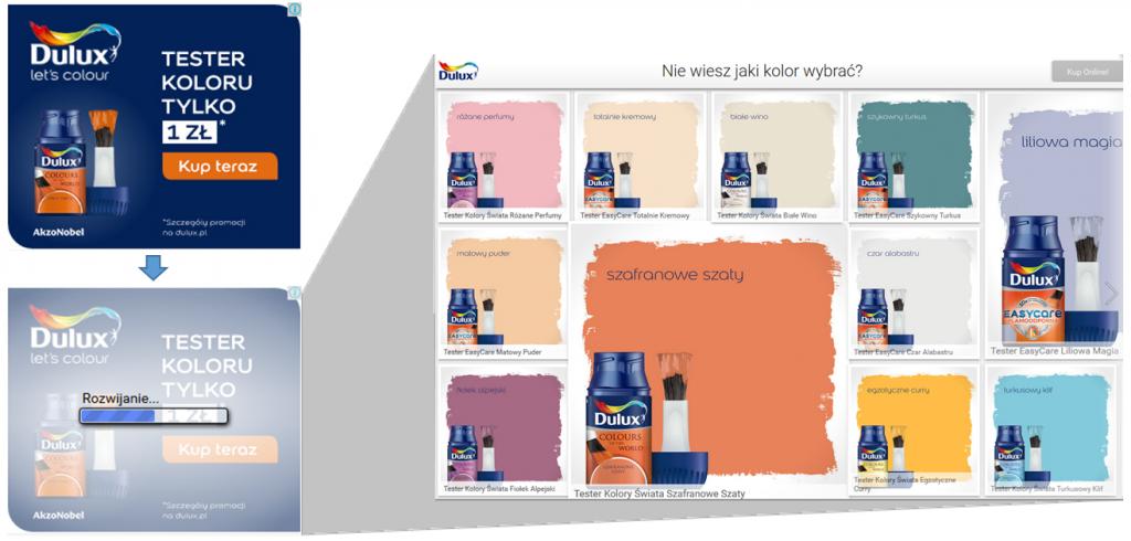 Reklama Lightbox Ads – przykład - Dulux Polska