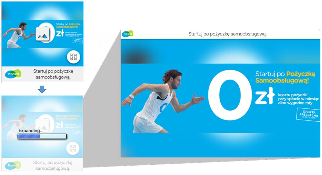 Reklama Lightbox Ads – przykład - Provident Polska