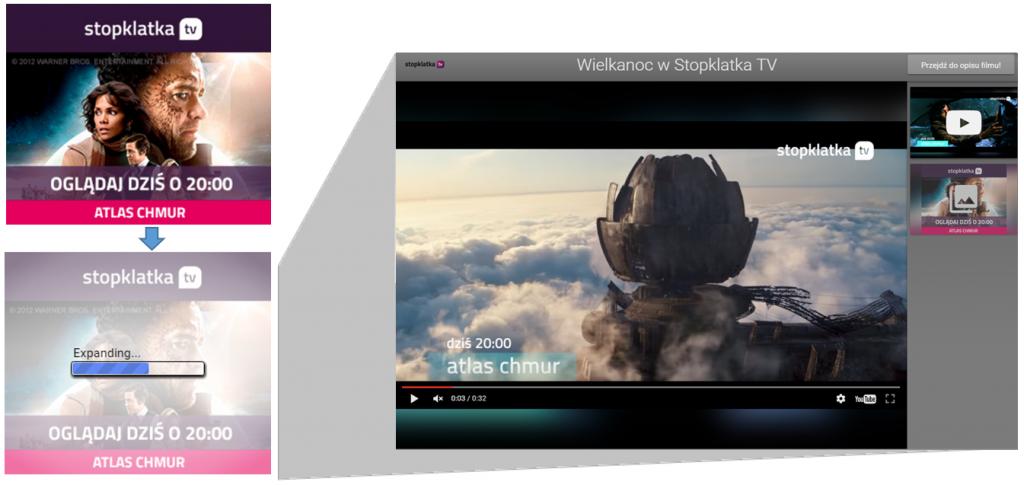 Reklama Lightbox Ads – przykład - Stopklatka TV