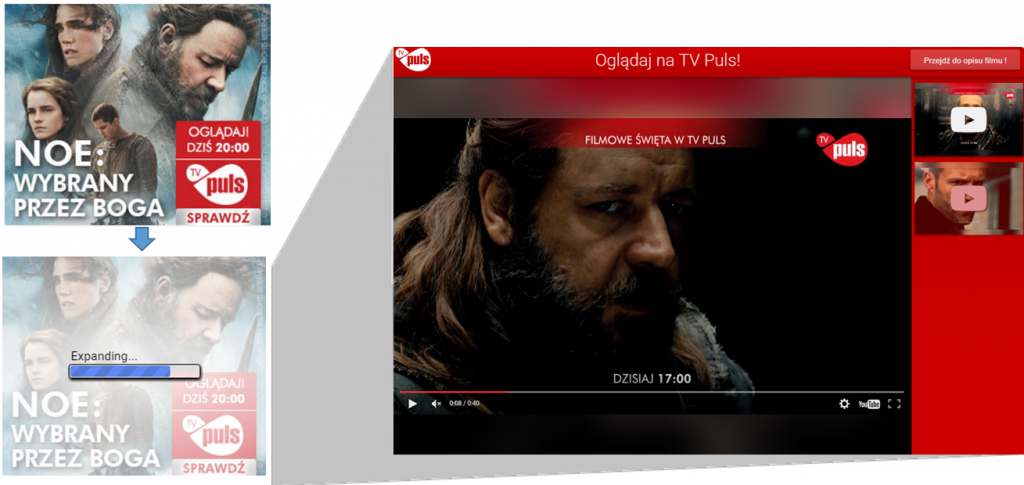 Reklama Lightbox Ads – przykład - TV Puls