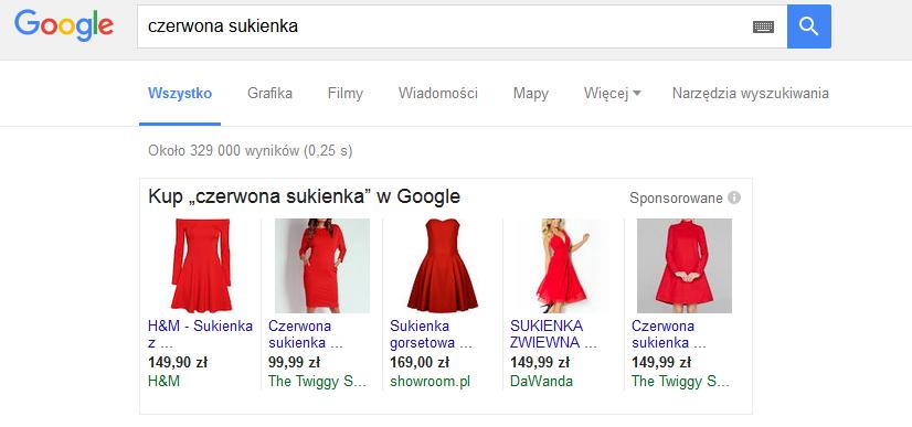 Sprzedaż ubrań przezinternet – przykład – reklama PLA