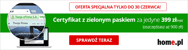 Rys. Kreacja graficzna reklamująca jeden zcertyfikatów oferowanych przezhome.pl