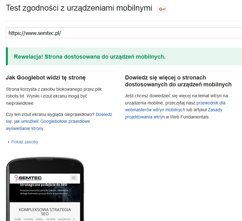 Narzędzie Google dotestowania zgodności strony zurządzeniami mobilnymi