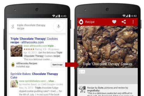 Otwieranie aplikacji wrezultatach Google