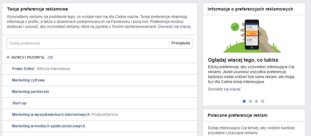 Preferencje reklamowe naFacebooku
