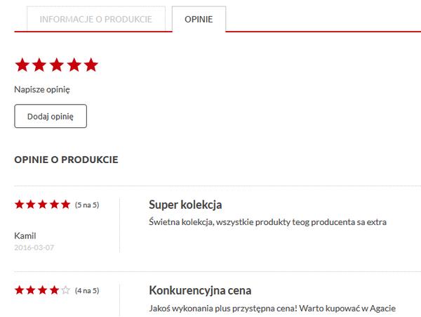 Opinie o produkcie w sklepie internetowym