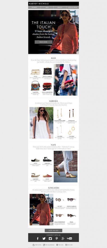 Przykład newslettera zagranicznego fashion