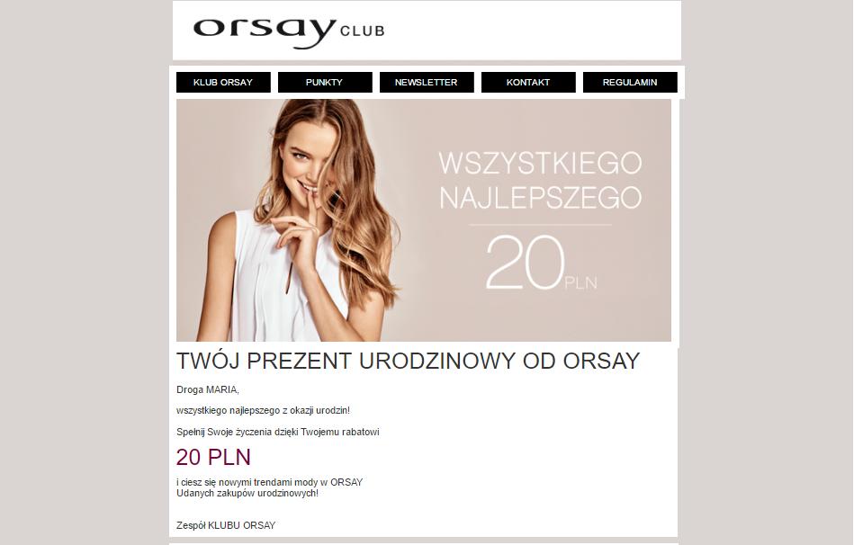 Przykład mailingu z branży fashion