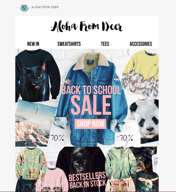 Przykład mailingu fashion zwysokiej jakości grafikami