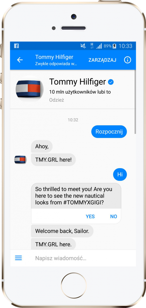 Chatbot Tommy Hilfiger – performance360.pl