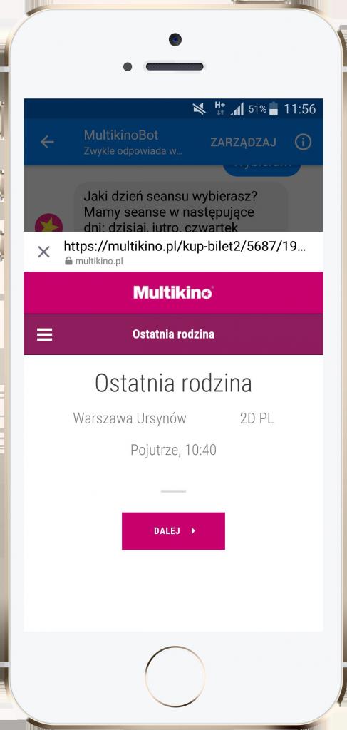 Chatbot waplikacji Multikina – performance360.pl
