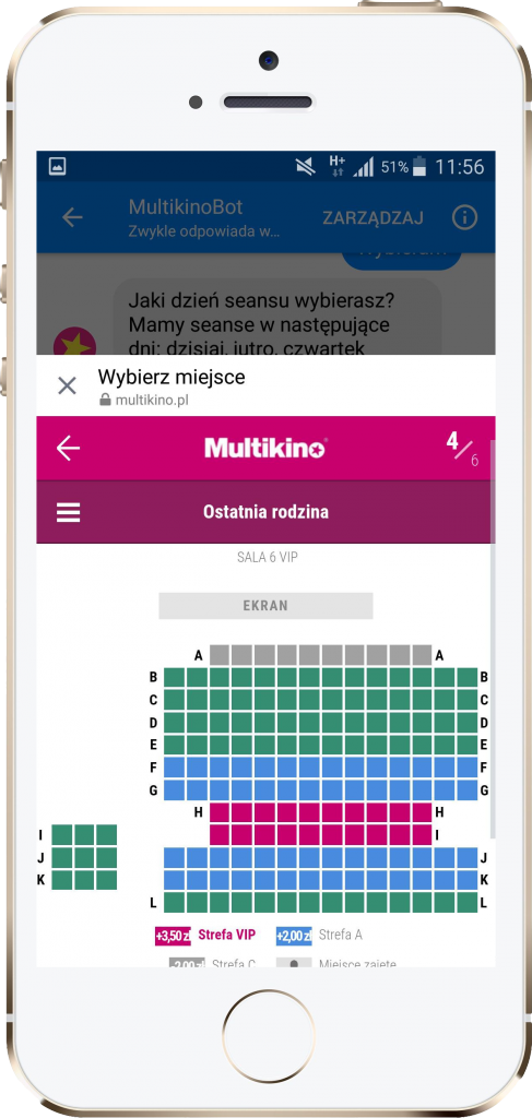 Chatbot w aplikacji Multikina – performance360.pl