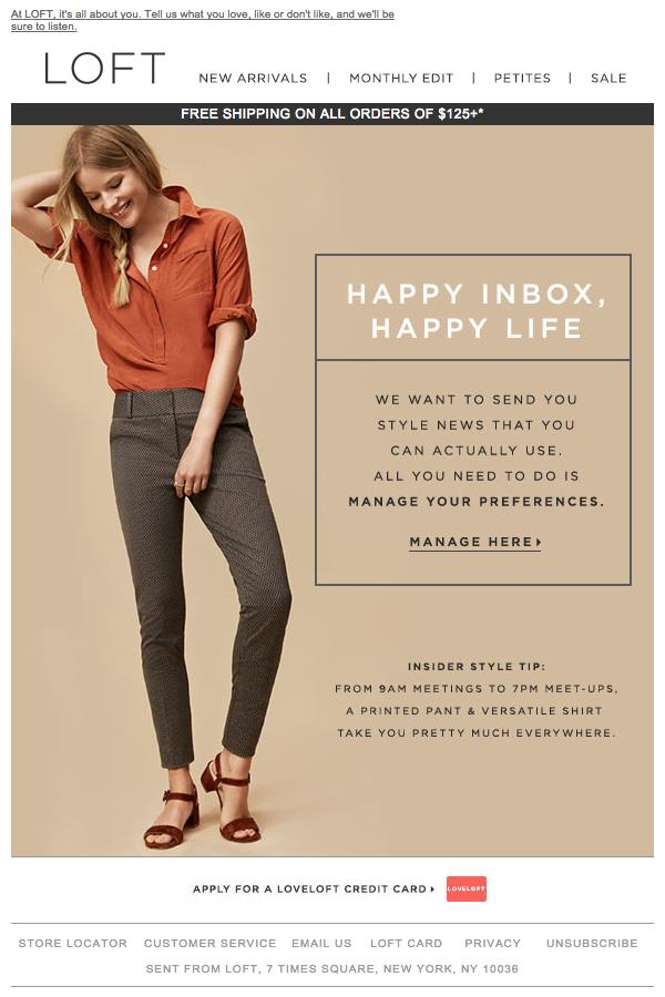 Loft mailing zmożliwością personalizacji