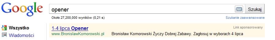 Komorowski - kampania w AdWords