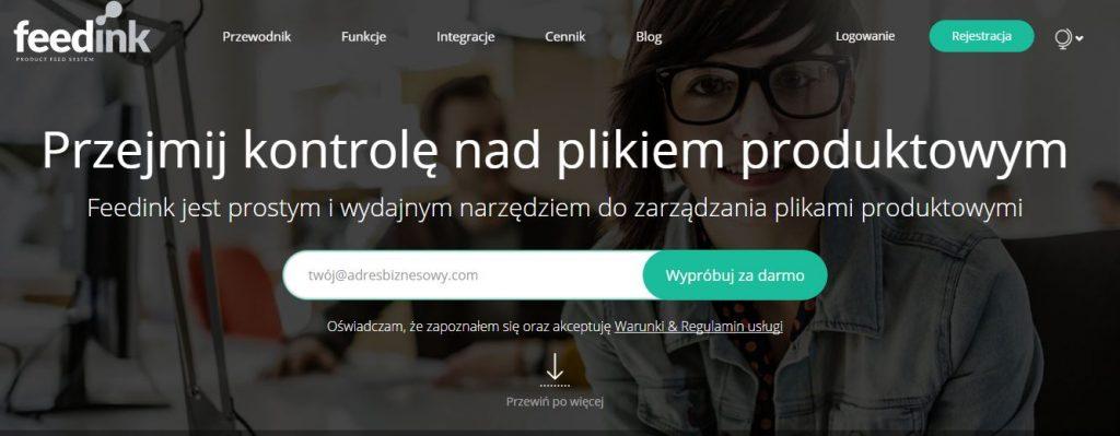 Przykład landing page'a Feedlink