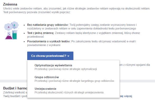 Manager reklam Facebook - testy A/B - reklama naFacebooku