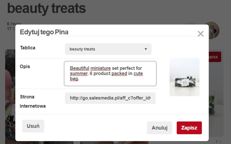 Pinterest - linki afiliacyjne
