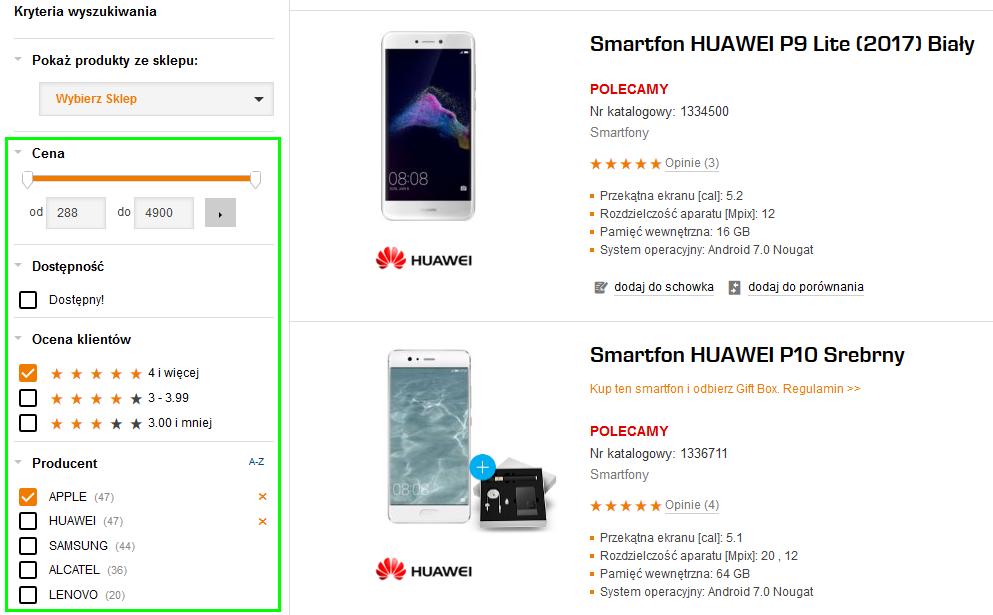 Wyszukiwanie produktów - e-sklep
